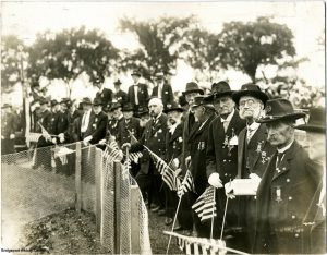 Veterans of the Civil War gather on Memorial Day 1916 in Bridgeport, Connecticut.