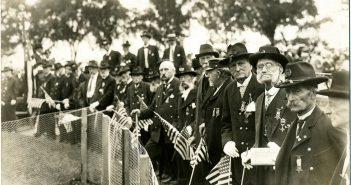 Veterans of the Civil War gather on Memorial Day 1916 in Bridgeport, Connecticut.
