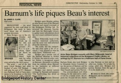 OCTOBER 14, 1988: Beau Bridges Visits the Bridgeport History Center