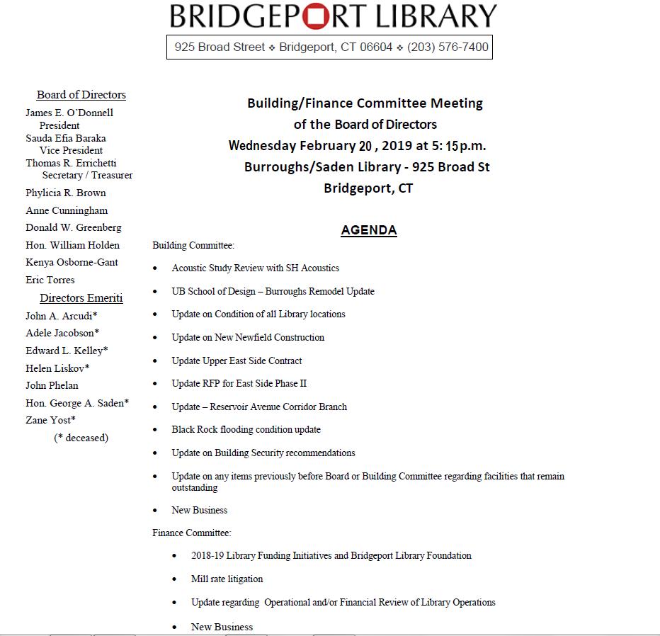 Board Meeting Agendas   Bpl Board Of Directors Meeting Agendas Minutes Bridgeport Public